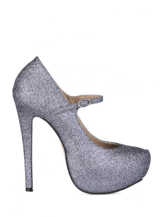 ladies Sexy High Heel Bling Bling Pumps - DEEP GRAY 35