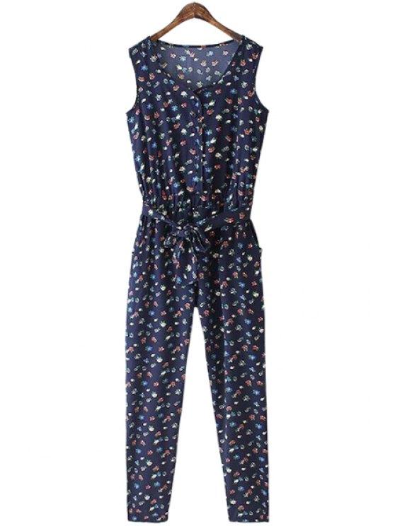 best Tiny Floral Print Sleeveless Jumpsuits - PURPLISH BLUE S
