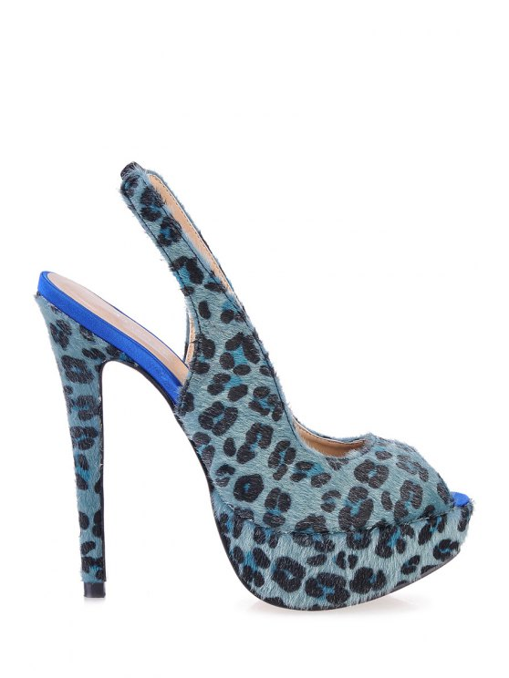 buy Leopard Print Platform Peep Toed Shoes - GREEN 35