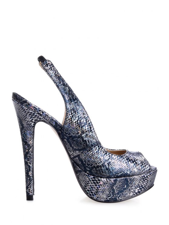 women's Snake Print Stiletto Heel Peep Toed Shoes - BLACK 35