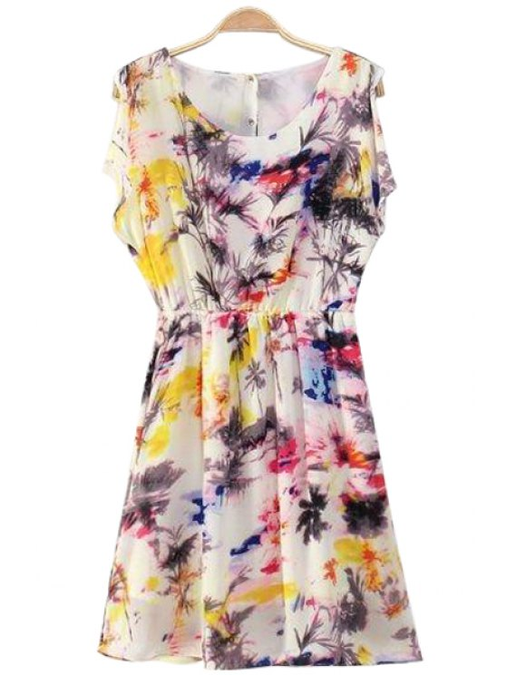 online Colorful Print Back Buttons Dress - COLORMIX S