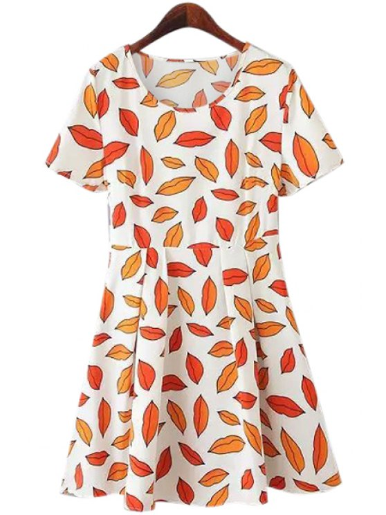 women's Scoop Neck Lips Print Dress - RED S