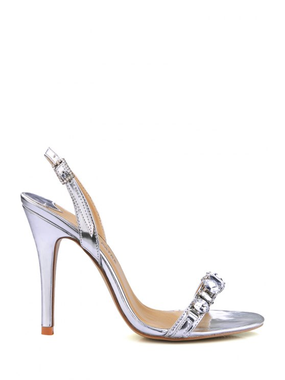 affordable Stiletto Heel Rhinestones PU Leather Sandals - SILVER 39