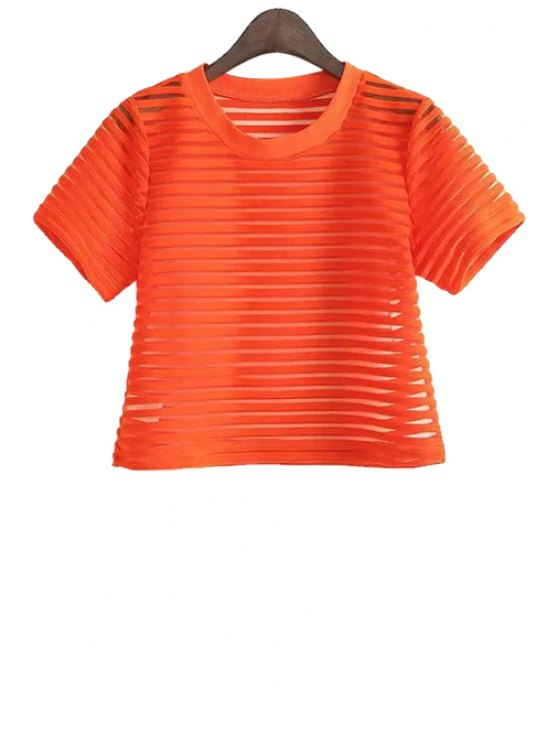 shops Striped Short Sleeve T-Shirt - ORANGE ONE SIZE(FIT SIZE XS TO M)