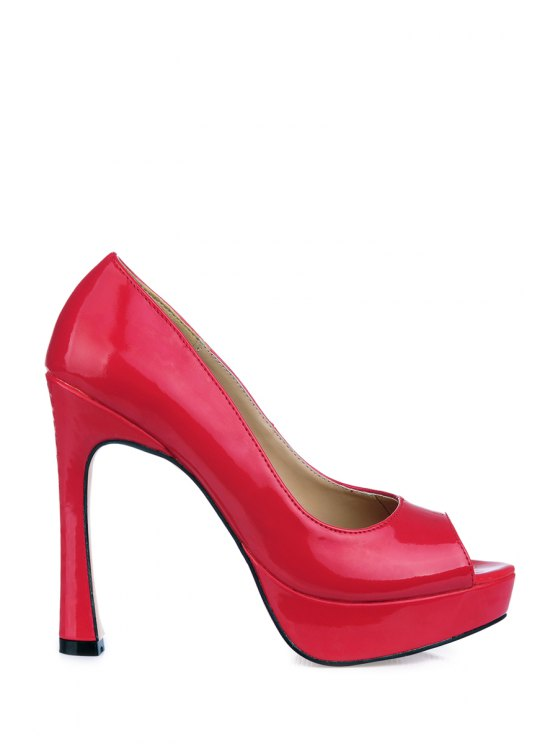 best Patent Leather Platform Peep Toed Shoes - RED 35