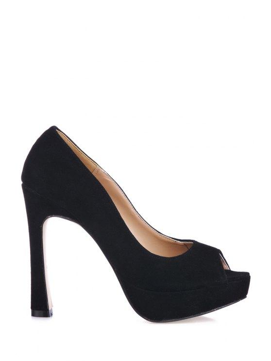 fancy Black Suede Peep Toed Shoes - BLACK 36