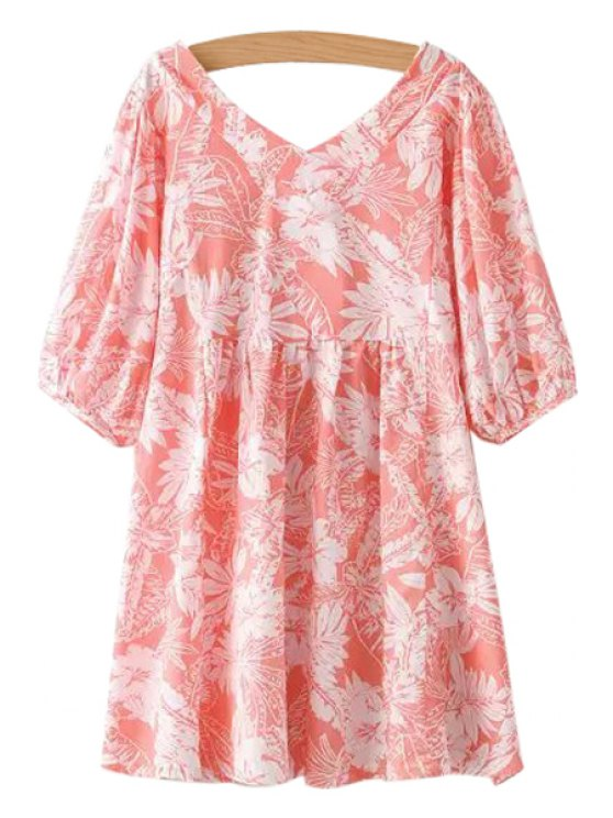 chic V-Neck White Floral Print Dress - PINK ONE SIZE(FIT SIZE XS TO M)