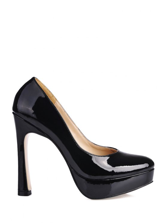 ladies Black Patent Leather Round Toe Pumps - BLACK 35