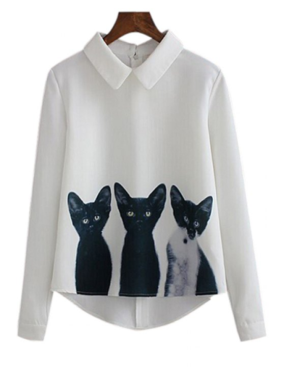 womens Three Cats Print Long Sleeve Shirt - WHITE S