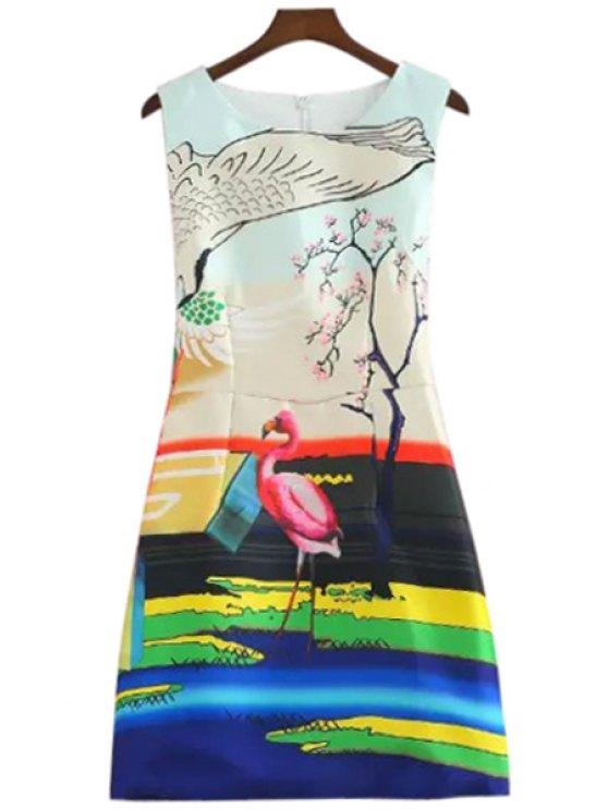 fashion Flamingo Print A-Line Sundress - COLORFUL S