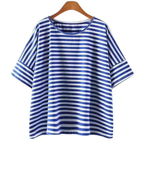 lady Blue Stripe Short Sleeve T-Shirt - BLUE ONE SIZE(FIT SIZE XS TO M)