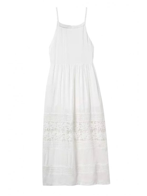 lady Crochet Spliced Spaghetti Straps Dress - WHITE S