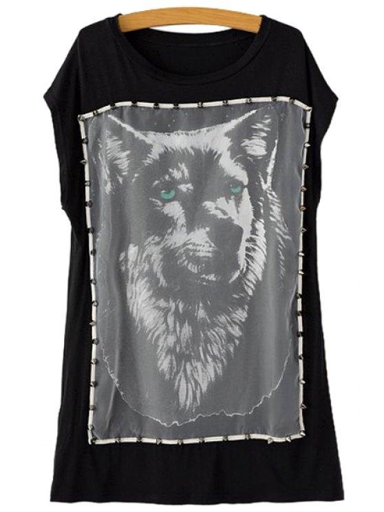 best Wolf Print Rivet Short Sleeve T-Shirt - BLACK S