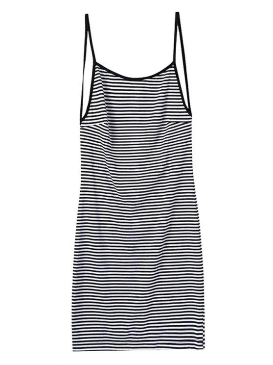 sale Striped Spaghetti Straps Backless Dress - STRIPE S