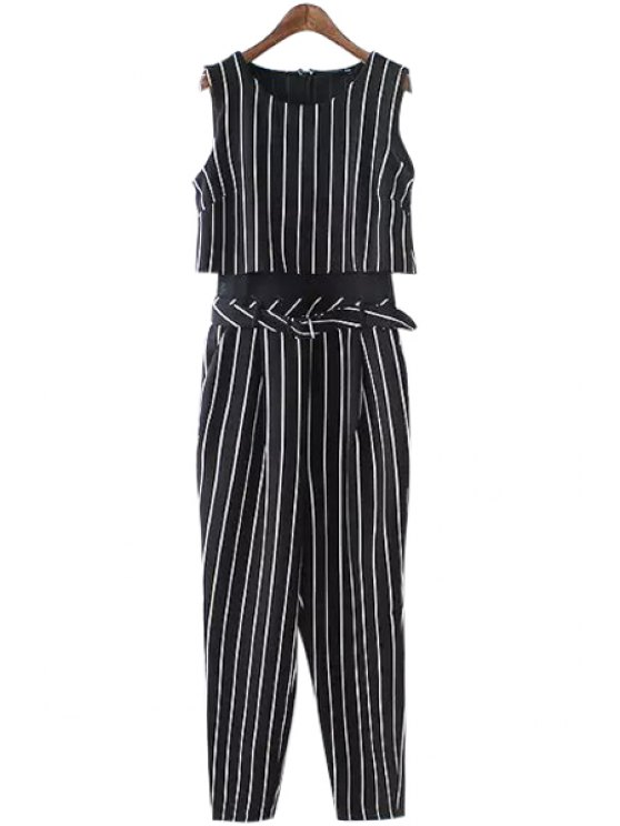hot Striped Sleeveless Jumpsuits - BLACK S