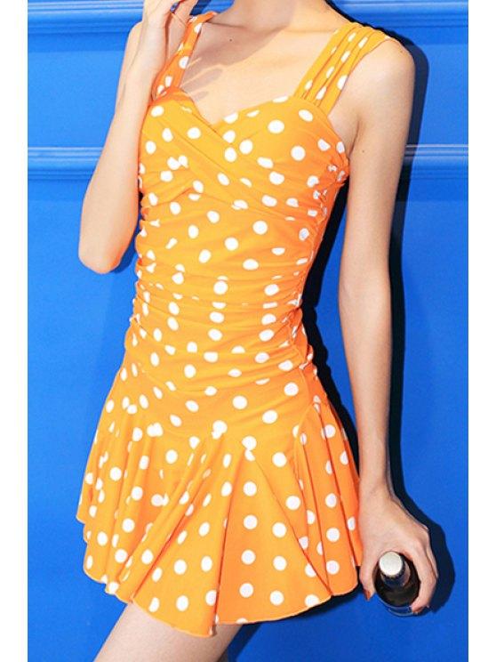 shop Polka Dot Straps One-Piece Swimwear - YELLOW M