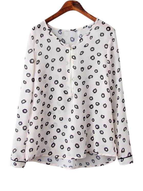trendy Round Print Zipper Long Sleeve Shirt - WHITE S