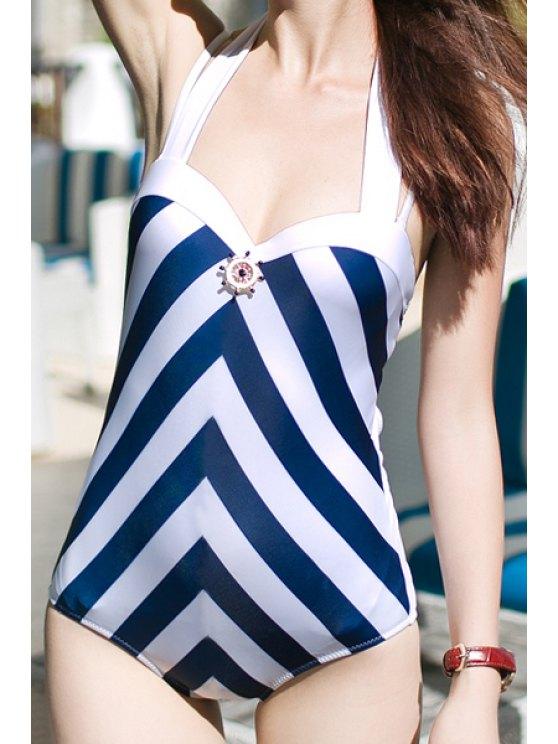 trendy Halter Striped One-Piece Swimwear - BLUE M