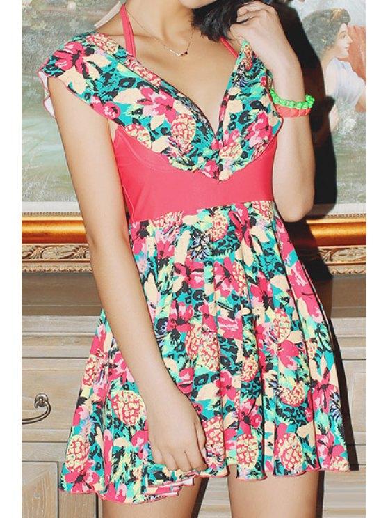 womens Floral Print Spliced One-Piece Swimwear - WATERMELON RED M