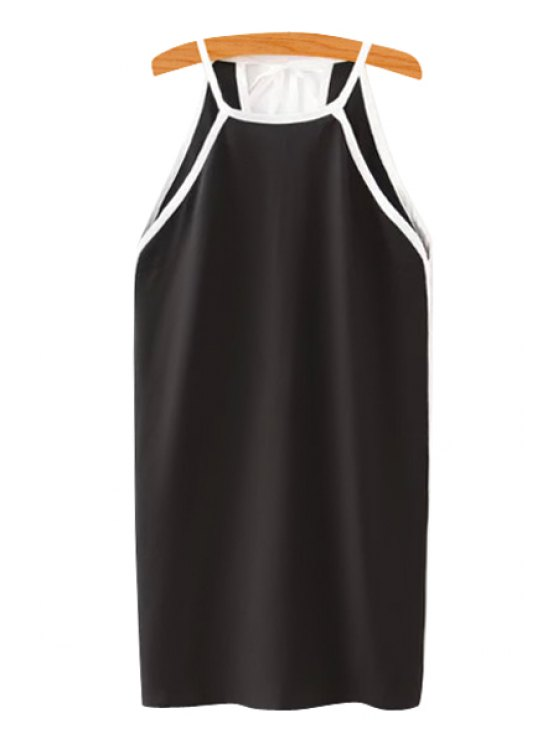 best Spaghetti Strap White Edging Tie-Up Dress - BLACK S