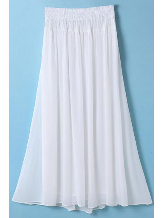 women's Elastic Waist Chiffon Pleated Long Skirt - WHITE ONE SIZE(FIT SIZE XS TO M)
