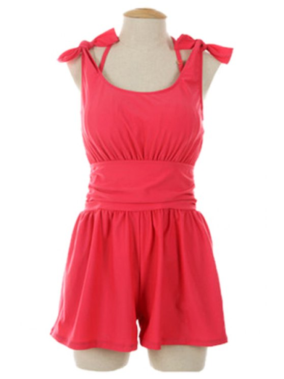 online Solid Color Bikini Set and Romper Three-Piece Suit - RED M