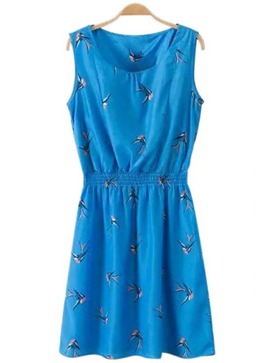 outfit Birds Print Elastic Waist Dress - BLUE S