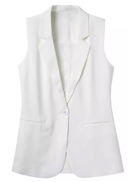 outfits Lapel Solid Color Sleeveless Waistcoat - WHITE S