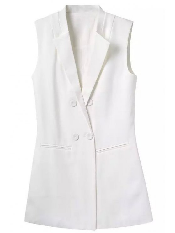 chic Lapel Buttons Solid Color Waistcoat - WHITE S