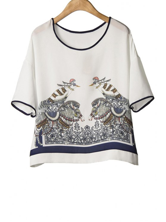 chic Bird Print Short Sleeve Chiffon T-Shirt - WHITE M