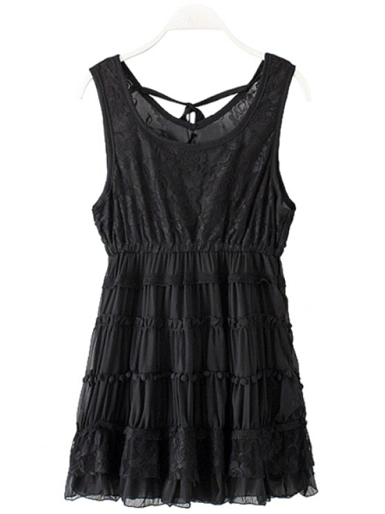 chic Lace Splicing Sleeveless Layered Dress - BLACK ONE SIZE(FIT SIZE XS TO M)