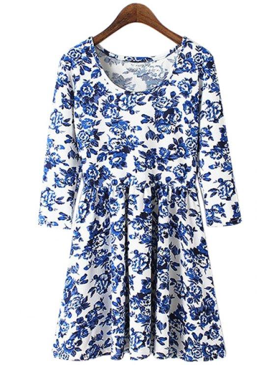 sale Blue Floral Print 3/4 Sleeve Dress - LIGHT BLUE S