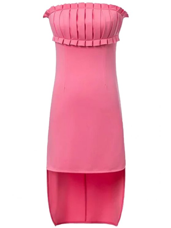unique Solid Color Ruffle Splicing Asymmetrical Dress - PINK S