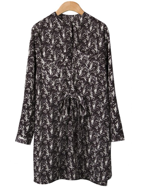 new Print Long Sleeve Self-Tie Dress - BLACK M