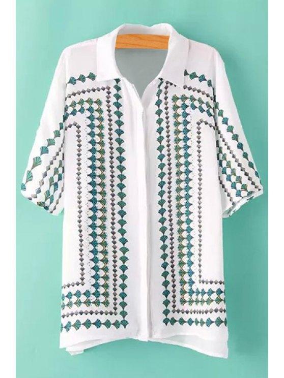 lady Leaves Print Short Sleeve Shirt - WHITE M