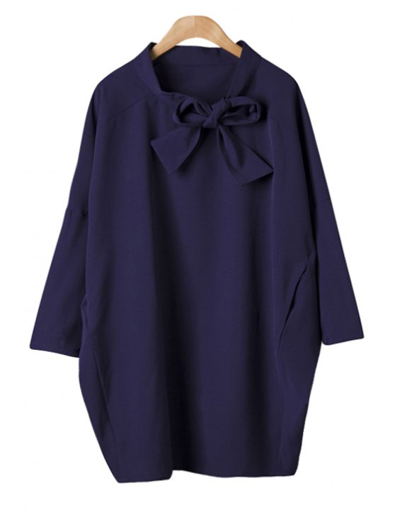 outfit Solid Color Self-Tie Dress - PURPLISH BLUE ONE SIZE(FIT SIZE XS TO M)