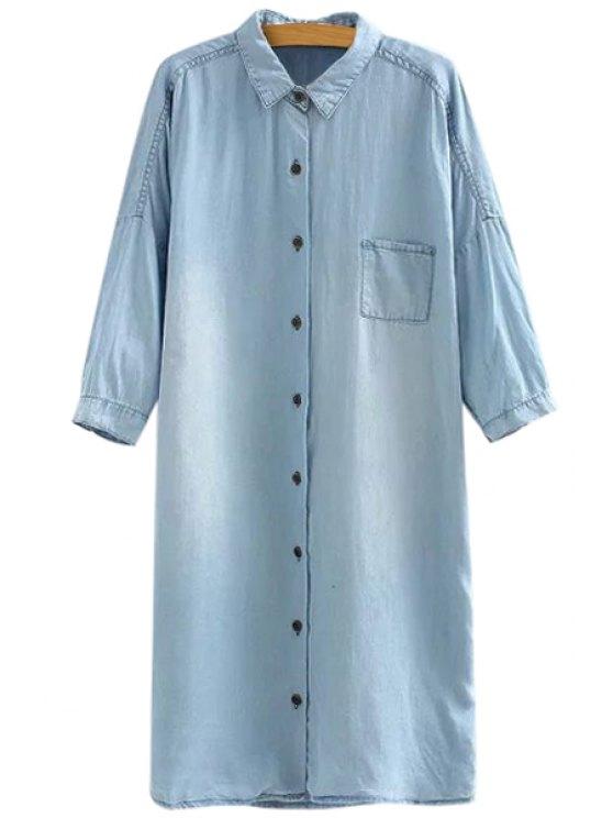 online Bleach Wash Pocket Denim Shirt - BLUE ONE SIZE(FIT SIZE XS TO M)
