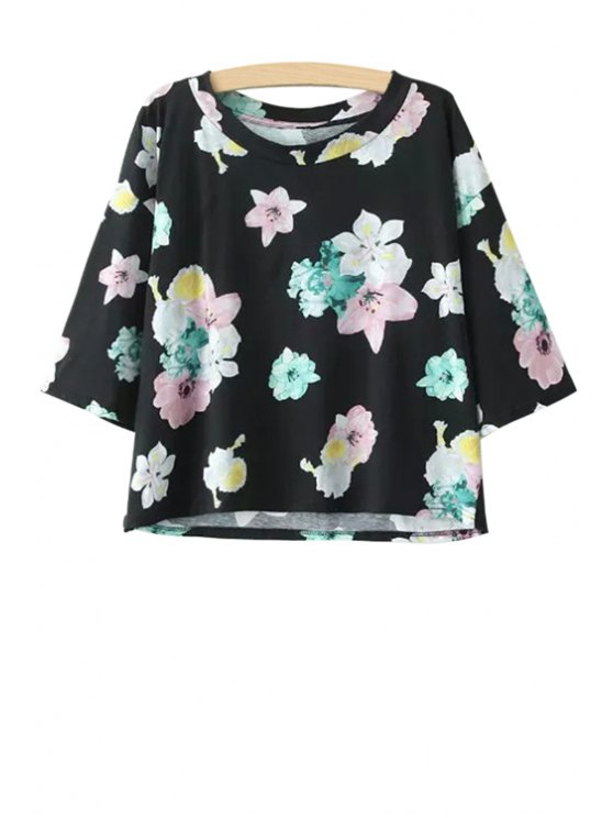 trendy Floral Print Jewel Neck Short Sleeve T-Shirt - BLACK S