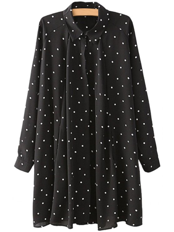 shops Turn-Down Collar Polka Dot Ruffle Dress - BLACK M