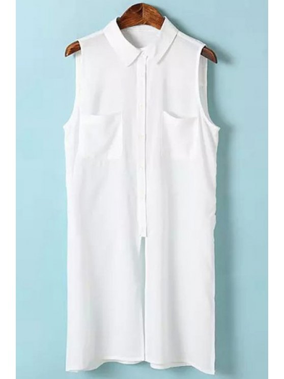 fancy Solid Color Ruffle Sleeveless Shirt - WHITE S