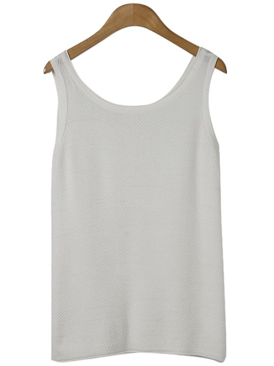 affordable Solid Color Knit Tank Top - WHITE ONE SIZE(FIT SIZE XS TO M)
