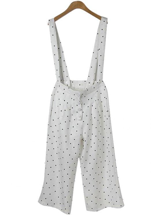 women Polka Dot Print Straps Overalls - WHITE M