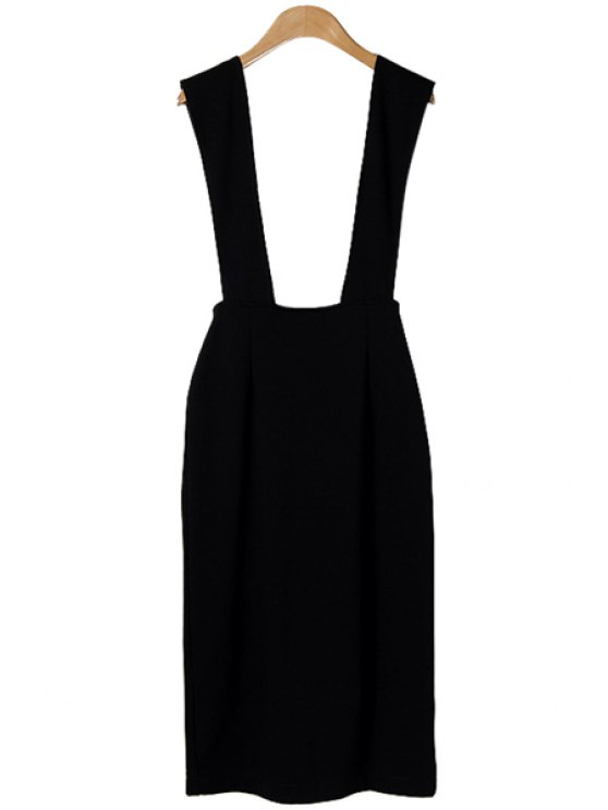 trendy Black Straps High Waisted Skirt - BLACK S