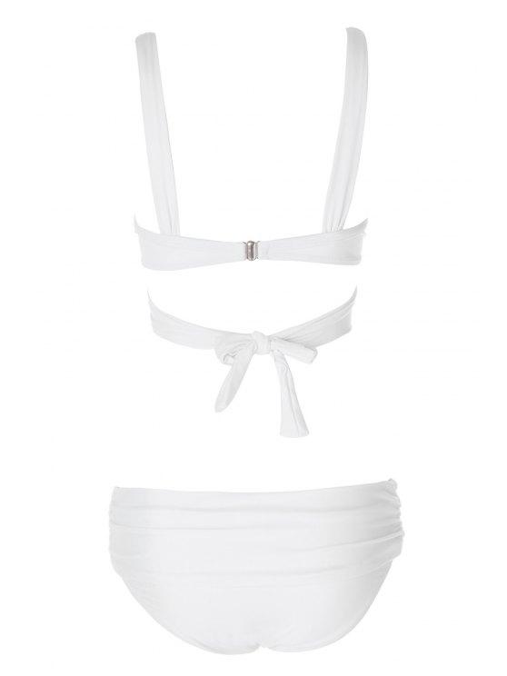 Solid Color Spaghetti Straps Bikini Set - WHITE M Mobile
