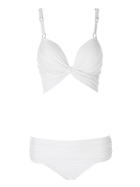 fancy Solid Color Spaghetti Straps Bikini Set - WHITE S