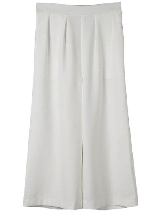 shop Solid Color Wide Leg Pants - WHITE S