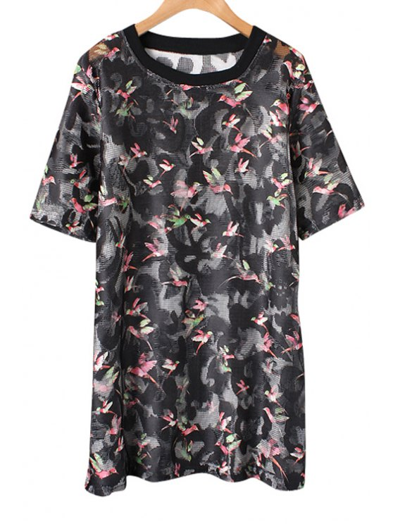 ladies Bird Print Hollow Short Sleeve Dress - BLACK ONE SIZE(FIT SIZE XS TO M)