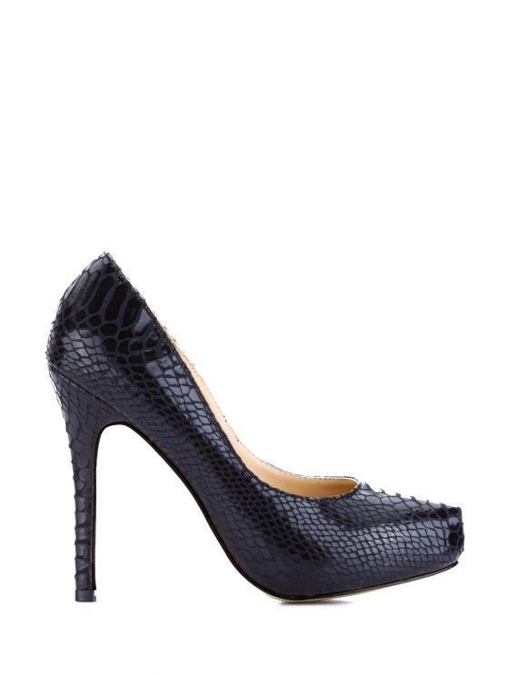 fancy Stiletto Heel Snake Print Pumps - BLACK 35