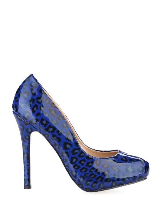 best Leopard Print Stiletto Heel Pumps - BLUE 35