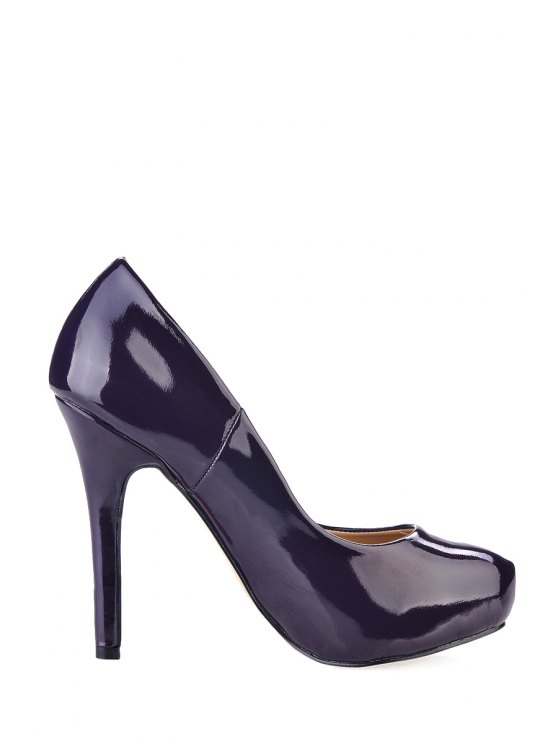 affordable Patent Leather Stiletto Heeel Pumps - DEEP PURPLE 35